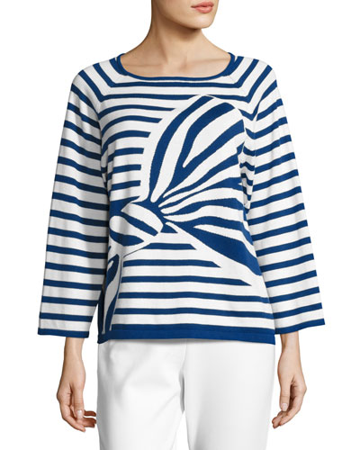 Striped Graphic-Bow Sweater