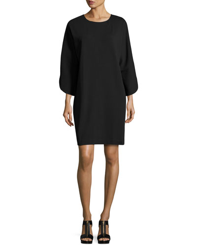 Tulip-Sleeve Cotton-Interlock Dress, Petite