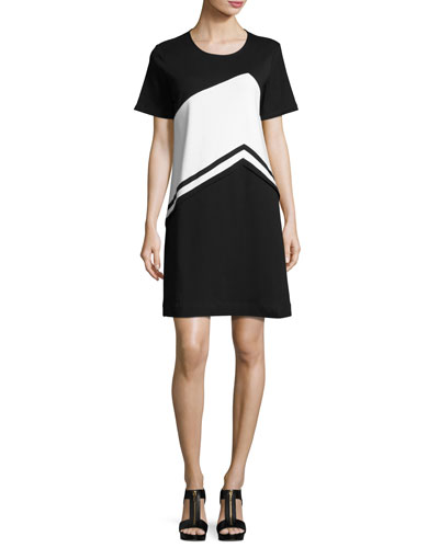 Colorblock Short-Sleeve Dress, Petite