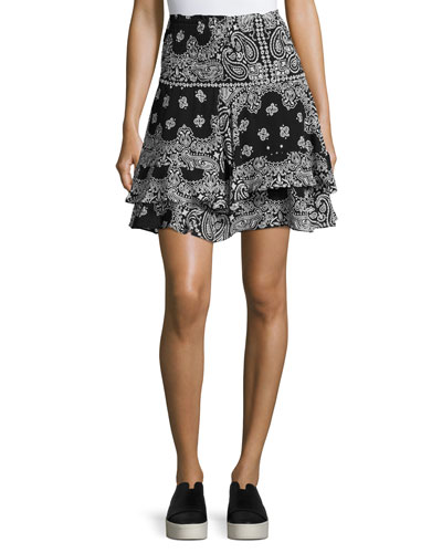 Vera Silk High-Waist Bandana Skirt, Black/White