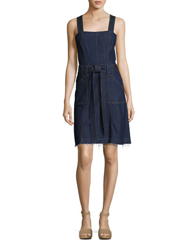 Sleeveless Belted Denim Dress, Indigo