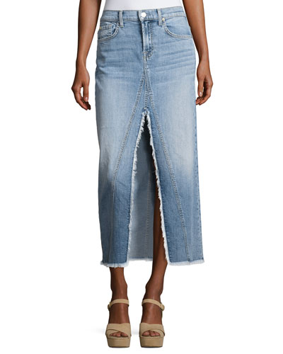 Long Denim Skirt with Front Slit, Indigo