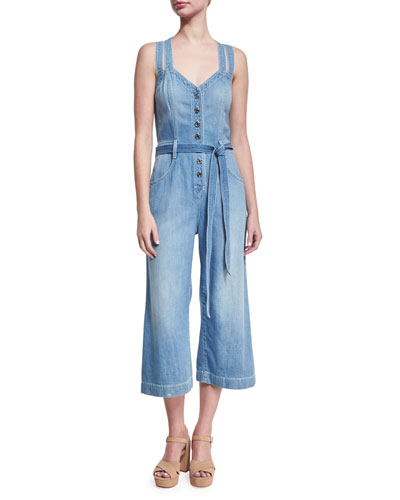 Button-Front Sleeveless Cropped Denim Jumpsuit, Indigo