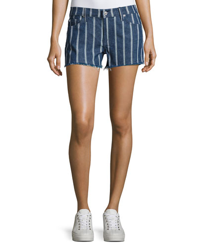 Striped Denim Cutoff Shorts, Indigo