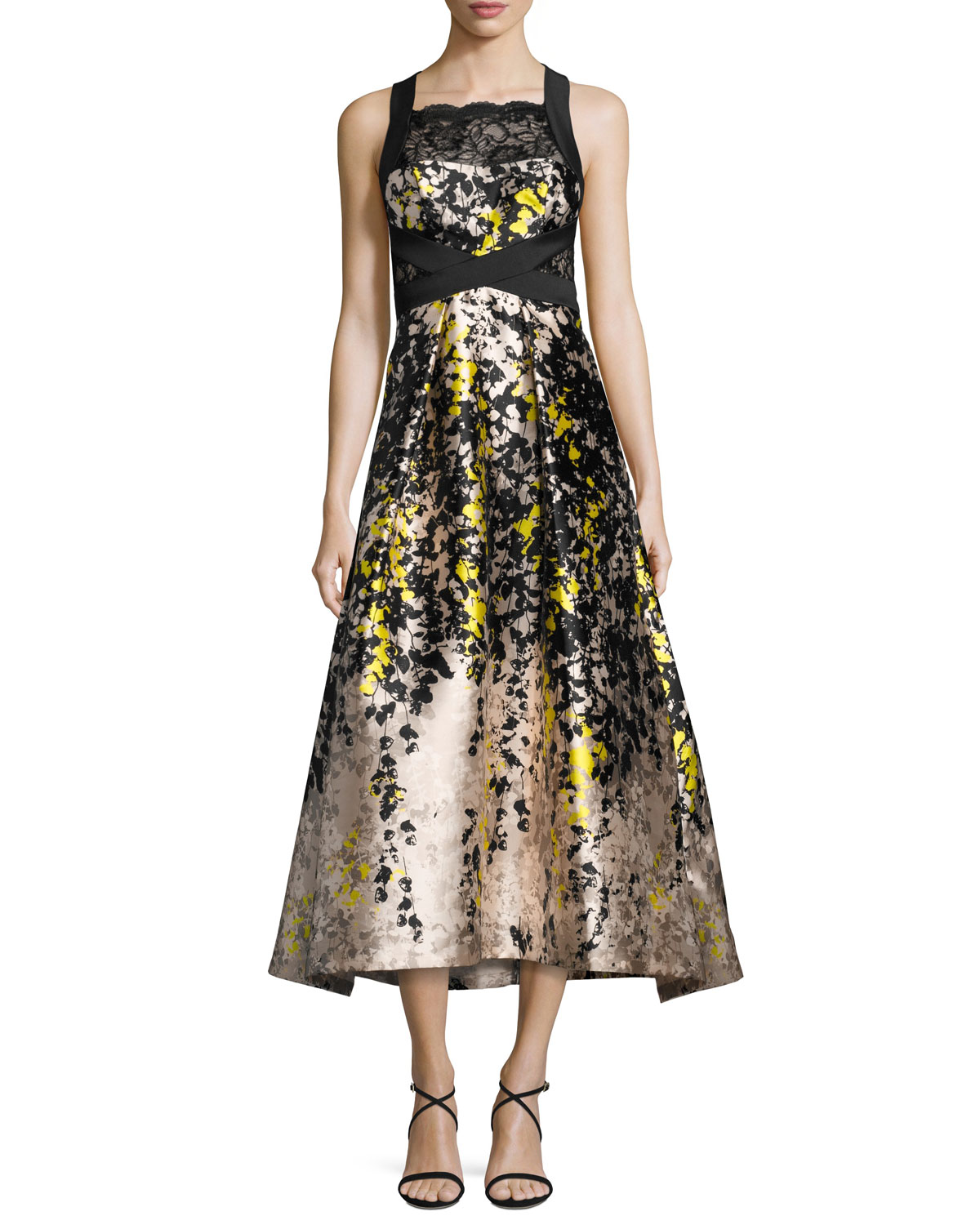 Sleeveless Floral Lace & Satin Cocktail Dress, Black/Yellow