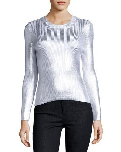 Ribbed Metallic Crewneck Sweater, Gray