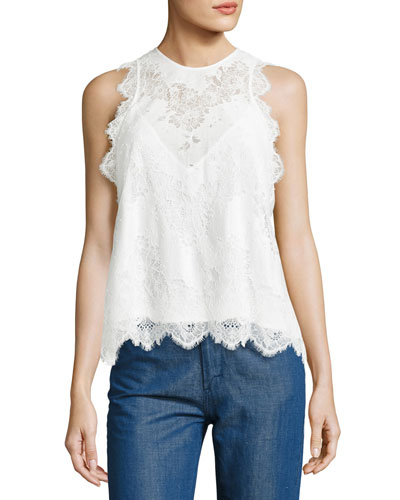 Sleeveless Lace Top, White
