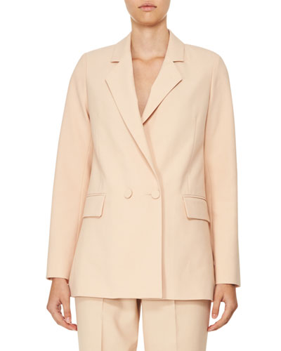 Double-Breasted Oversized Crepe Jacket, Beige