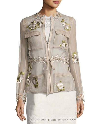 Katya Floral-Applique Silk Jacket, Light Brown