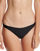 High-Cut Slim Swim Bottoms, Matte Black