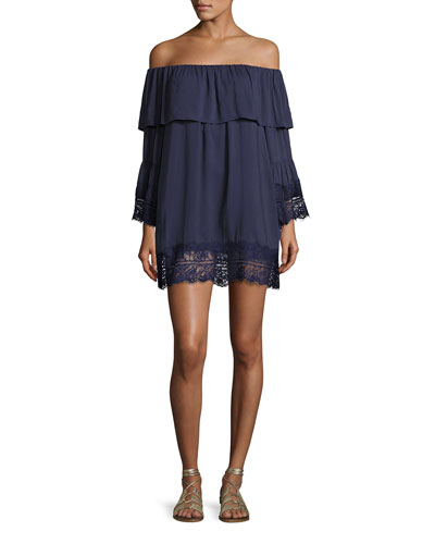 Midnight Oasis Lace Off-the-Shoulder Long-Sleeve Mini Dress, Blue