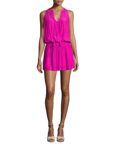 Maggie Sleeveless Smocked Split-Neck Dress, Paradise Pink