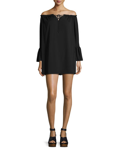 Saratoga Off-the-Shoulder Bell-Sleeve Shift Dress, Black