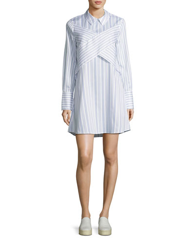 Azriel Striped Shirtdress, White/Blue