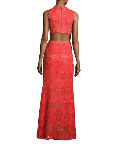Merida Cutout-Back Floral Lace Gown, Bright Poppy