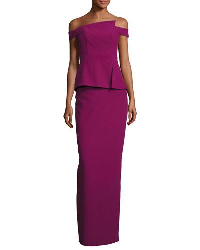 Off-the-Shoulder Peplum Column Gown, Cranberry