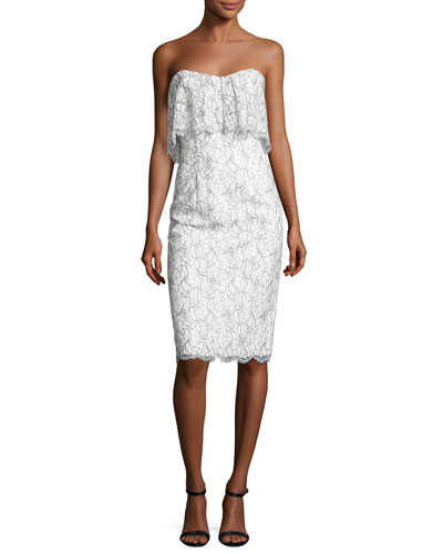 Strapless Lace Popover Cocktail Dress, White/Black