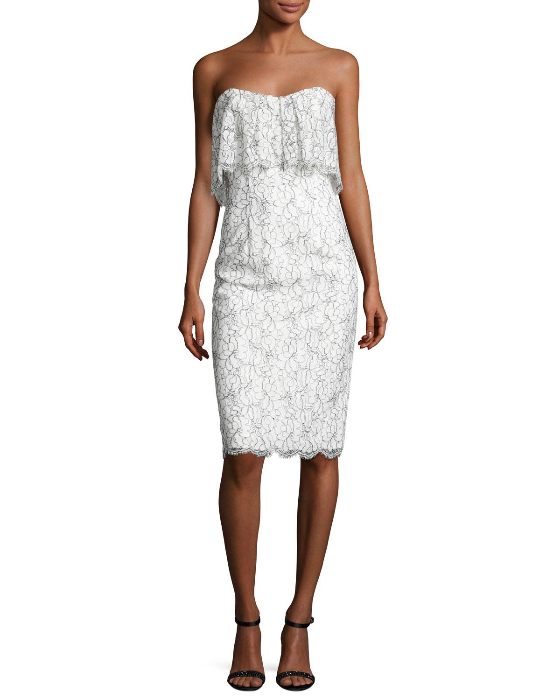 Strapless Lace Popover Cocktail Dress, White/Black