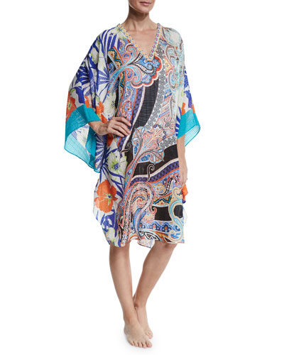 Mixed-Print Coverup Tunic, Multicolor