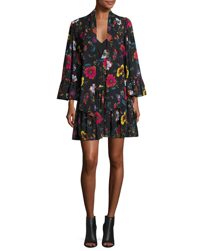 Bell-Sleeve Floral Chiffon Mini Dress, Black/Multicolor