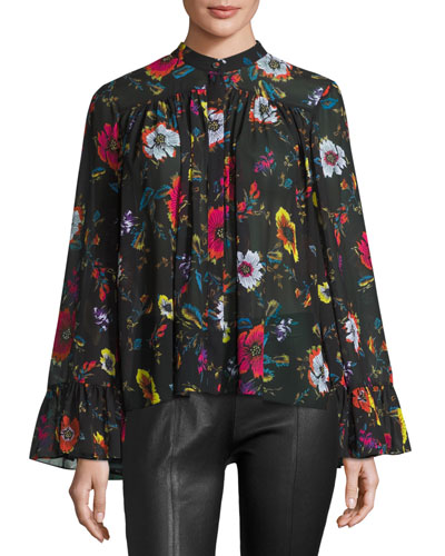 Shirred Floral Chiffon Blouse, Black/Multicolor