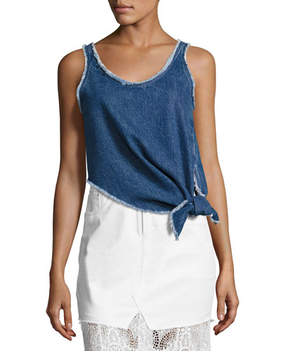 Sleeveless Knotted Denim Boxy Top, Blue