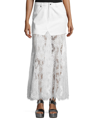 Denim & Lace Maxi Skirt, Ivory