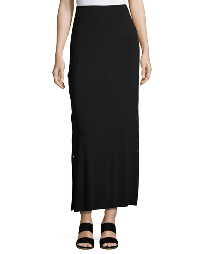 Cain Splice Side-Snap Maxi Skirt, Black