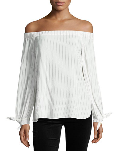 Even Keel Striped Off-the-Shoulder Top, White/Blue