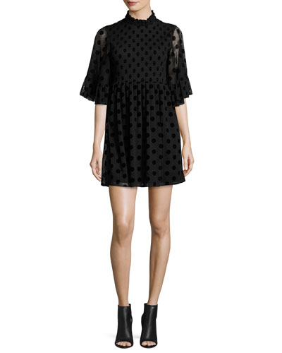 Short-Sleeve Smocked Polka-Dot Mini Dress, Black