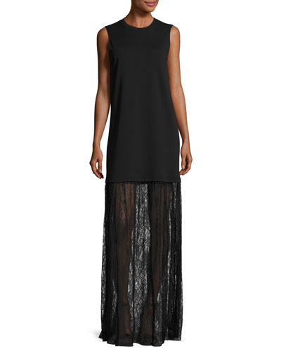 Sleeveless Jersey & Lace Mixed-Media Maxi Dress, Black