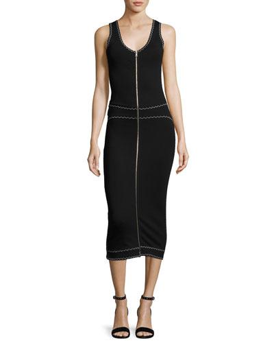 Sleeveless Scalloped Zip Jersey Midi Dress, Black
