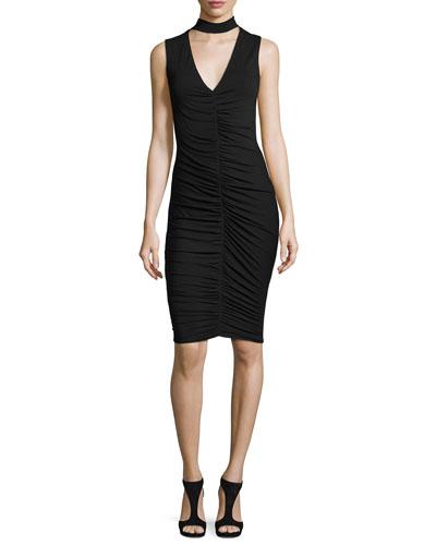 Fairlead Ruched V-Neck Sleeveless Sheath Dress, Black
