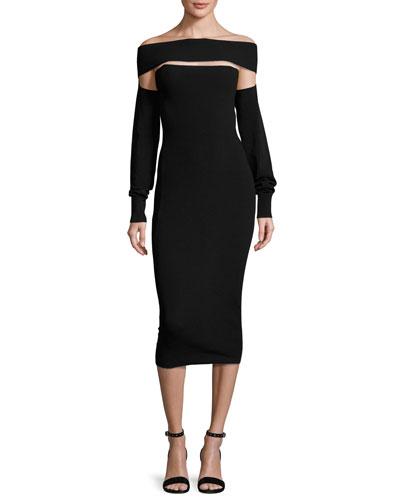 Cutout Off-the-Shoulder Jersey Midi Dress, Black