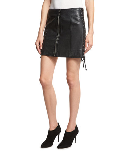 Laced Paneled Leather Mini Skirt, Black