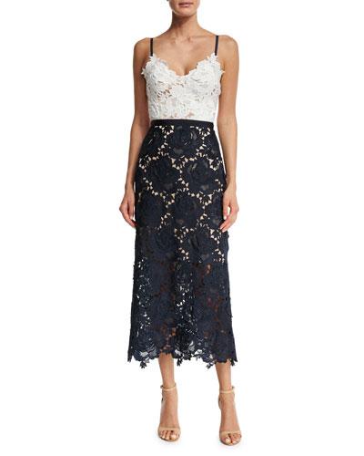 Sleeveless Two-Tone Lace Midi Dress, Ivory/Navy
