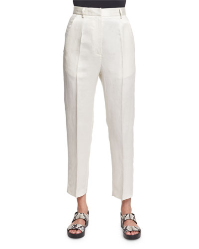 Cropped Linen-Blend Trousers, Off White