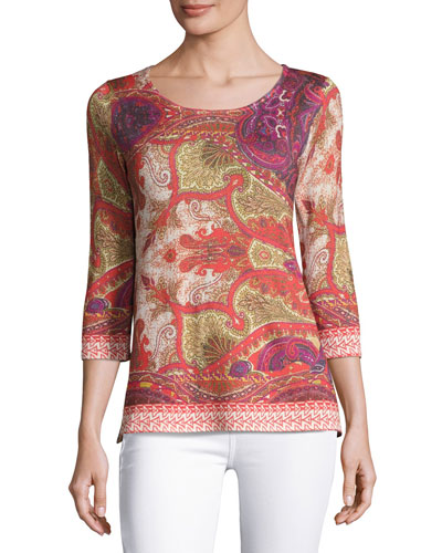 Superfine Medallion Half-Sleeve Tunic