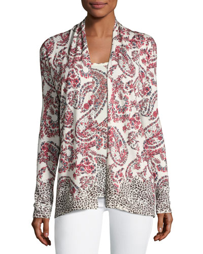 Superfine Floral Paisley Open Cardigan