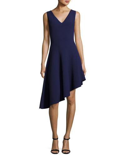 Sleeveless Asymmetric Draped Dress