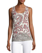Superfine Floral Paisley Silk-Blend Tank