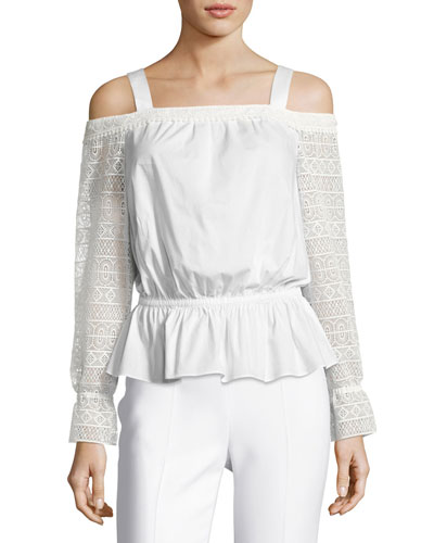 Sylvie Lace-Sleeve Cold-Shoulder Blouson Top, Ivory