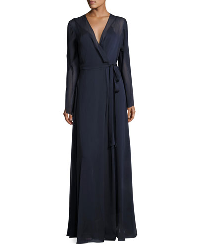 Long-Sleeve Belted Chiffon Wrap Gown, Dark Navy