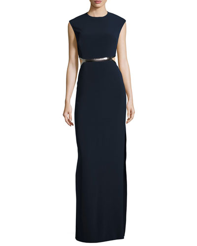 Sleeveless Metallic-Trim Stretch Crepe Gown, Dark Navy/Gunmetal