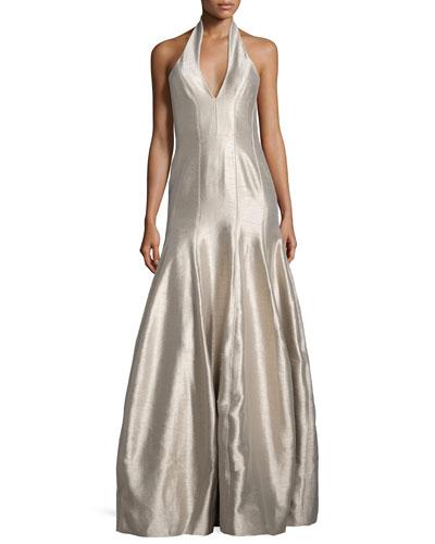 Faille Halter Tulip Gown, Platinum