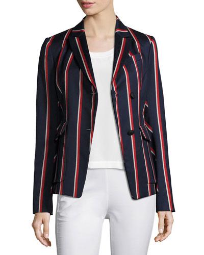 Howson Striped Asymmetric Blazer, Blue/Red/White