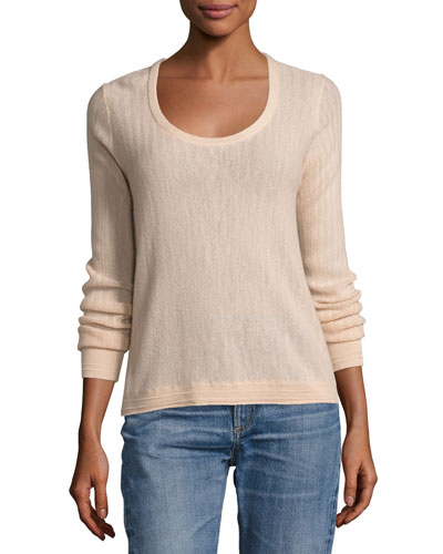 Estelle Herringbone Cashmere Scoop-Neck Sweater, Rose Dust