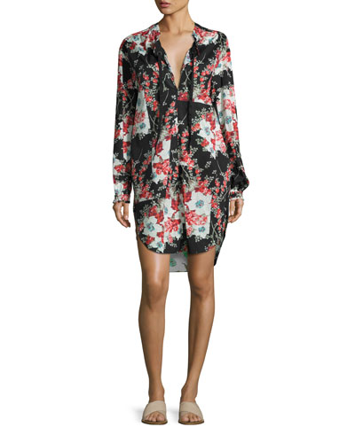 Verna Floral Patchwork Dress, Multicolor