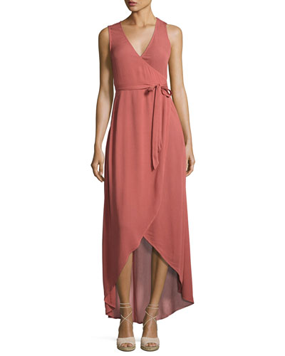 Twilight High-Low Wrap Coverup Dress, Red