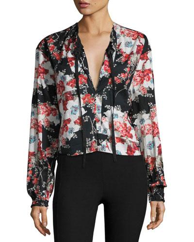 Verna Floral-Print Blouse, Black Multicolor